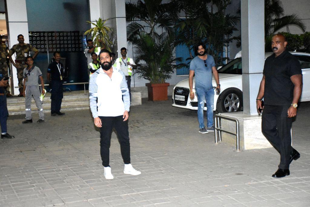Kannada actor Yash seen at Chhatrapati Shivaji International Airport in Mumbai on Jan 9, 2020. - Yash