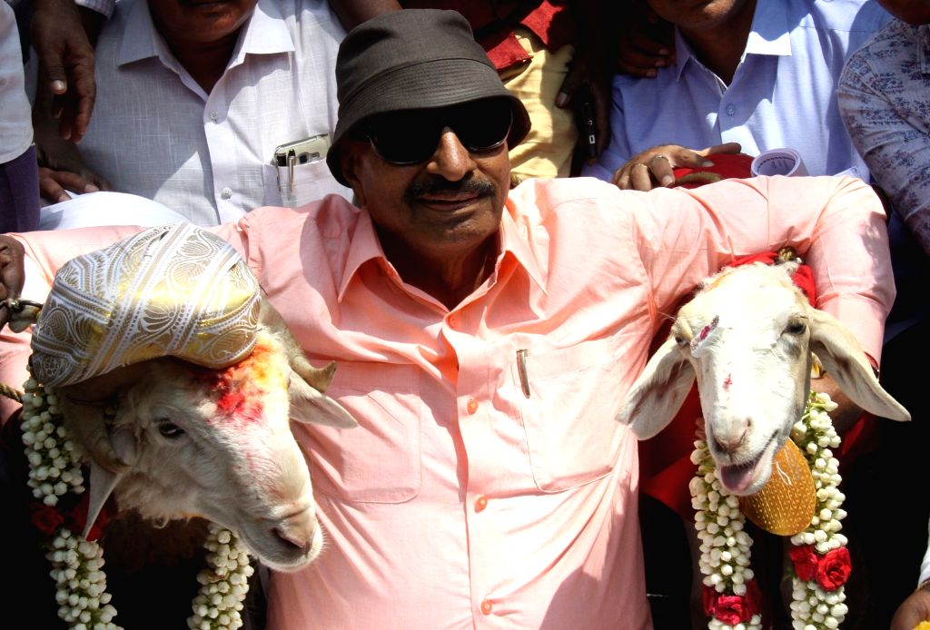 Kannada Chalavali Vatal Paksha chief Vatal Nagaraj with the newly married pair of sheeps on Valentine's Day in Bengaluru on Feb 14, 2018.