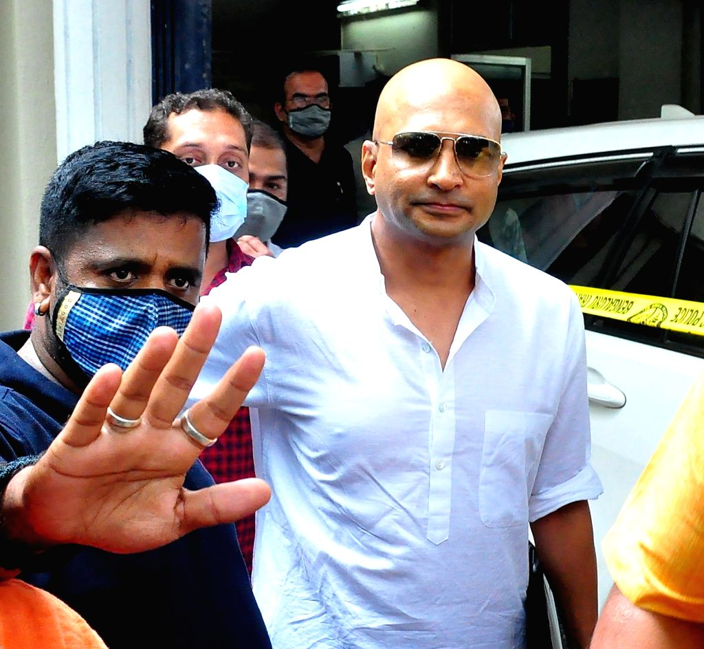 Kannada film producer Indrajit Lankesh comes out of the office of central crime branch (CCB) after recording his statement in connection with the probe into the alleged links between drug ...