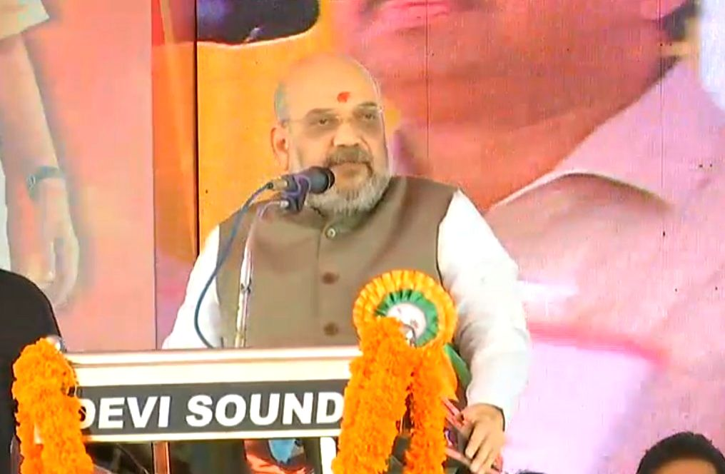 : Kannur: BJP chief Amit Shah addresses at the inauguration of new BJP district office in Kannur, Kerala, on Oct 27, 2018. (Photo: IANS).