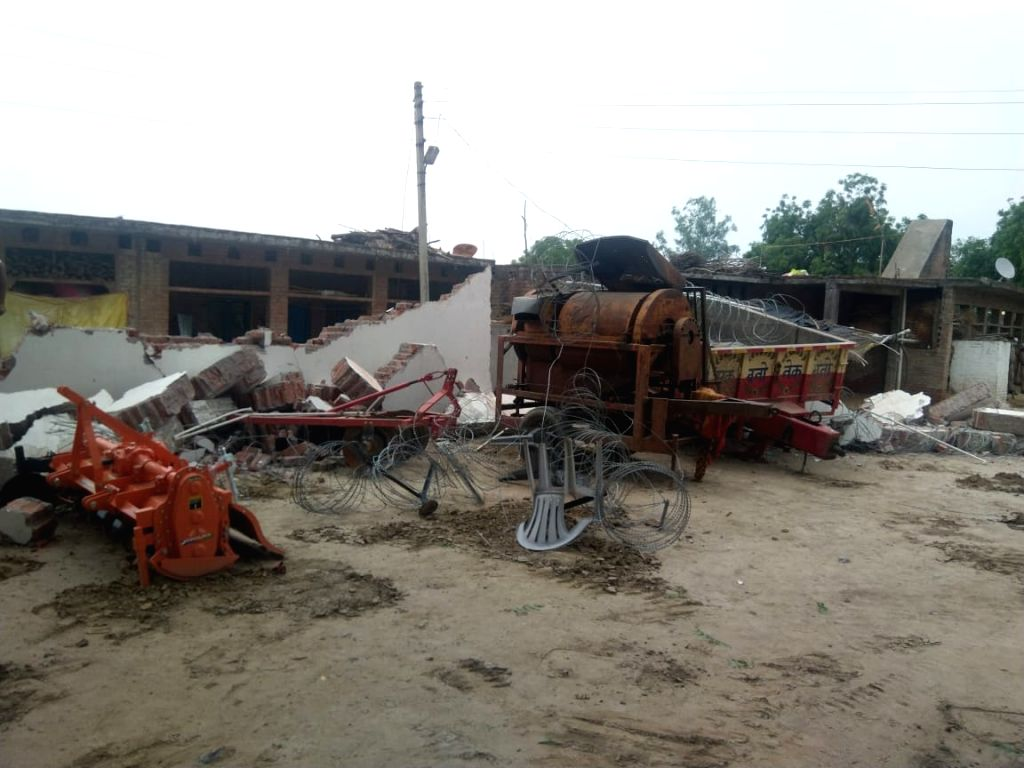Kanpur: Demolition of gangster Vikas Dubey's house, the main accused in the killing of eight police personnel, underway in Kanpur's Bithur on July 4, 2020. In addition to the bulldozing of his residence in Bithur, the Uttar Pradesh police have employ