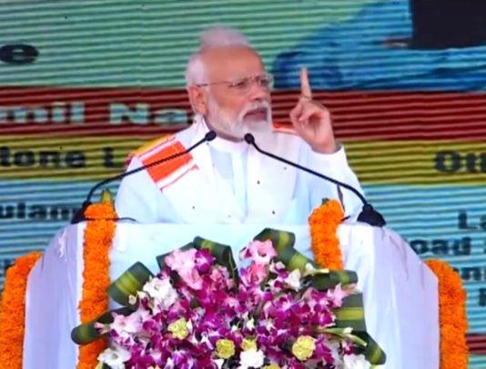 Kanyakumari: Prime Minister Narendra Modi addresses at the inauguration of a railway line between Rameshwaram and Dhanushkodi in Kanyakumari, Tamil Nadu, on March 1, 2019. (Photo: IANS/BJP) - Narendra Modi