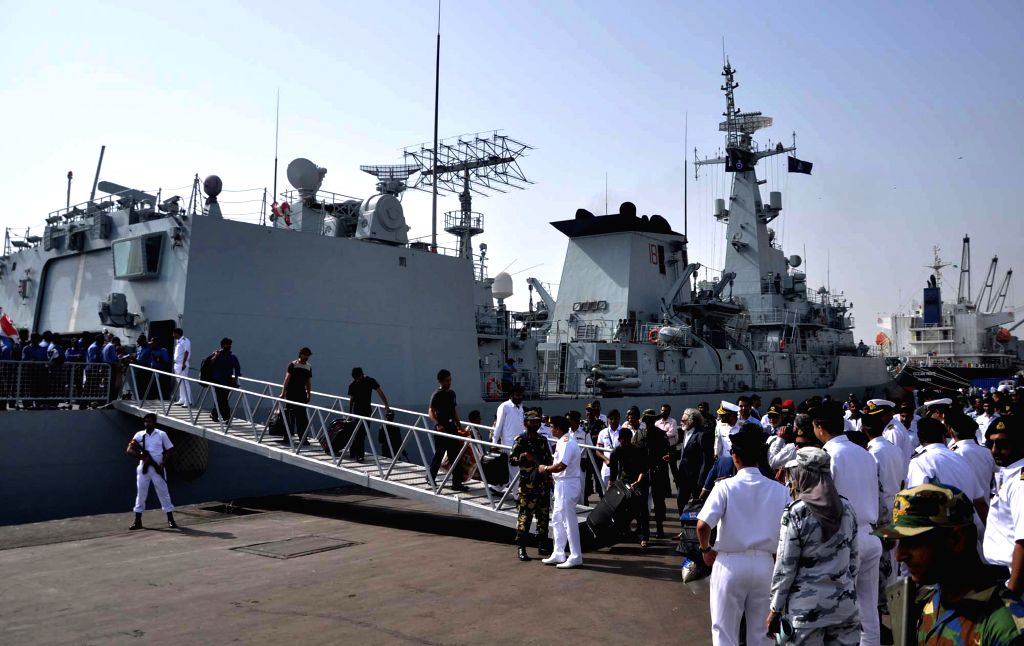 Pakistanis and other nationals evacuated from Yemen arrive in southern Pakistani port city of Karachi, April 7, 2015. A Pakistan Navy Ship, carrying 182 people ...