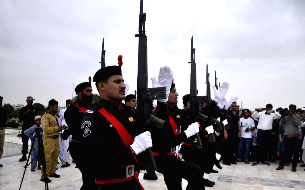 KARACHI, Aug. 14, 2016 - Pakistani security officials attend a ceremony to mark the Independence Day at the mausoleum of Pakistani founder Muhammad Ali Jinnah, in southern Pakistani port city of ...