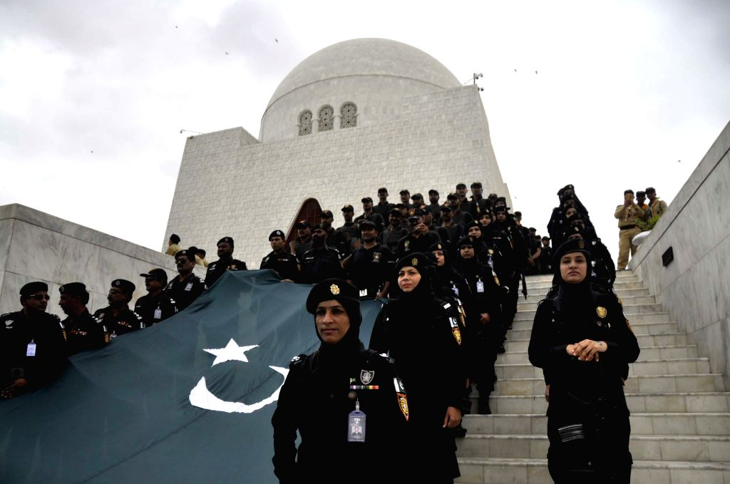 KARACHI, Aug. 14, 2016 - Pakistani women commandos attend a ceremony to mark the Independence Day at the mausoleum of Pakistani founder Muhammad Ali Jinnah, in southern Pakistani port city of ...