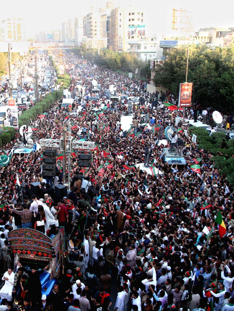 Supporters of Pakistani politician Imran Khan gather during an anti-government protest in southern Pakistani port city of Karachi on Dec. 12, 2014. Pakistan ...