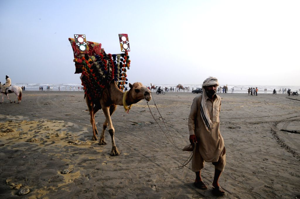 KARACHI, July 4, 2016 - A camel owner waits for customers at Clifton beach in southern Pakistani port city of Karachi on July 3, 2016.