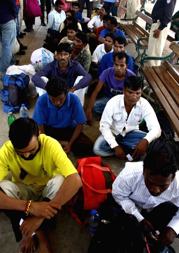 KARACHI, June 6, 2016 - Released Indian fishermen are seen at a railway station in the port city of Karachi, Pakistan released 18 Indian fishermen on Sunday as a goodwill gesture, officials said.