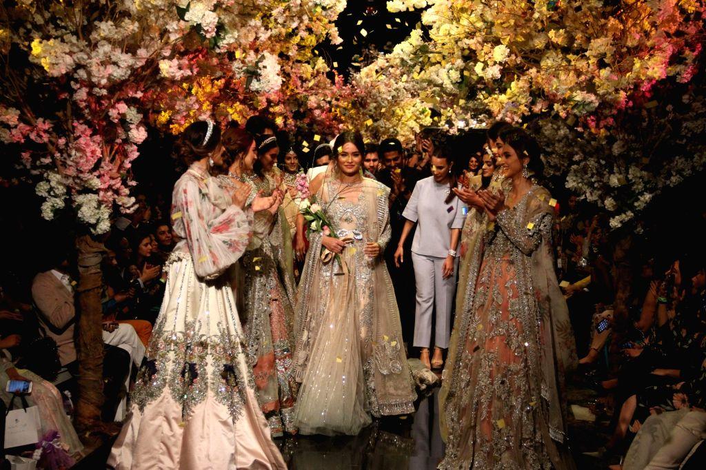 KARACHI, March 13, 2019 - Models present creations by designer Sana Safinaz on the first day of the Fashion Pakistan Week (FPW) in southern Pakistani port city of Karachi on March 12, 2019.