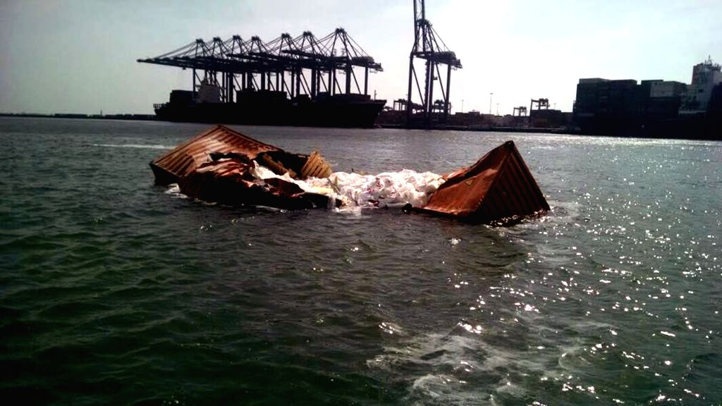 KARACHI, March 20, 2018 - Photo taken on March 20, 2018 shows a drowned container after two ships collided at the seaport of Karachi, southern Pakistan. A total of 19 containers drowned and went ...