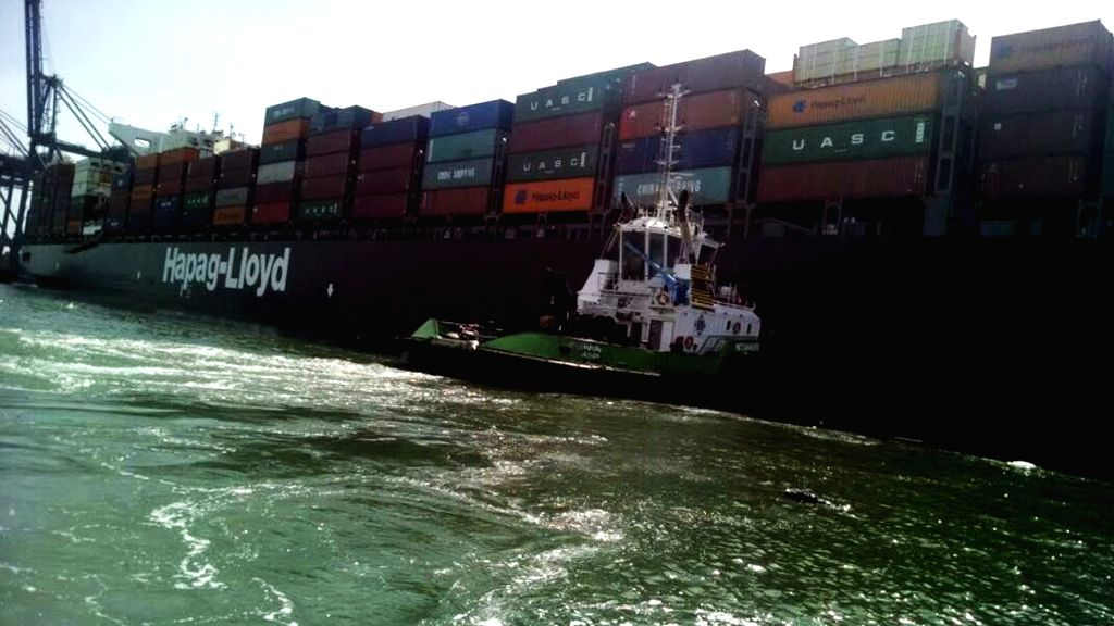 KARACHI, March 20, 2018 - Photo taken on March 20, 2018 shows the ship involved in a collision at the seaport of Karachi, southern Pakistan. A total of 19 containers drowned and went missing in ...