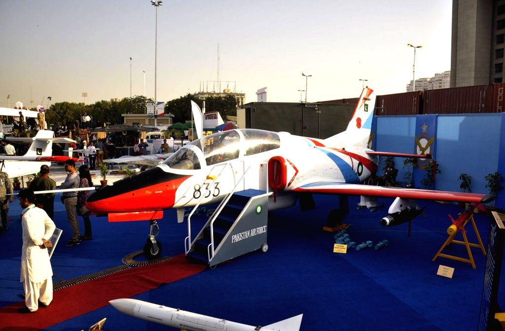 KARACHI, Nov. 25, 2016 - Photo taken on Nov. 25, 2016 shows Pakistan's Super Mushshak aircraft exhibited during the 9th International Defense Exhibition and Seminar 2016 in southern Pakistani port ...