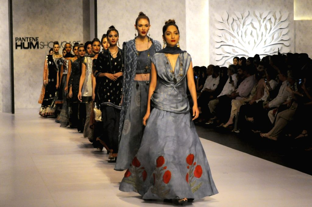 KARACHI (PAKISTAN), March 29, 2018 Models present creations by designer Faiza on the second day of the Hum Showcase fashion event in southern Pakistani port city of Karachi, on March 29, ...