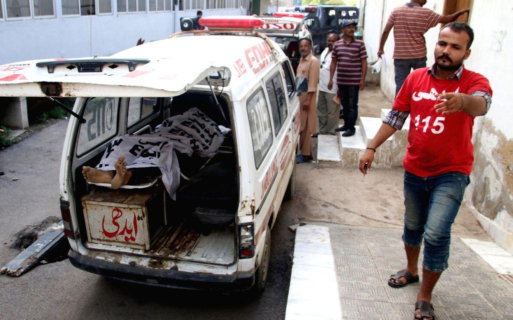 KARACHI (PAKISTAN), Sept. 4, 2017 Body of a terrorist is seen in an ambulance outside a hospital in southern Pakistani port city of Karachi, on Sept. 4, 2017. Police in the Pakistani port ...