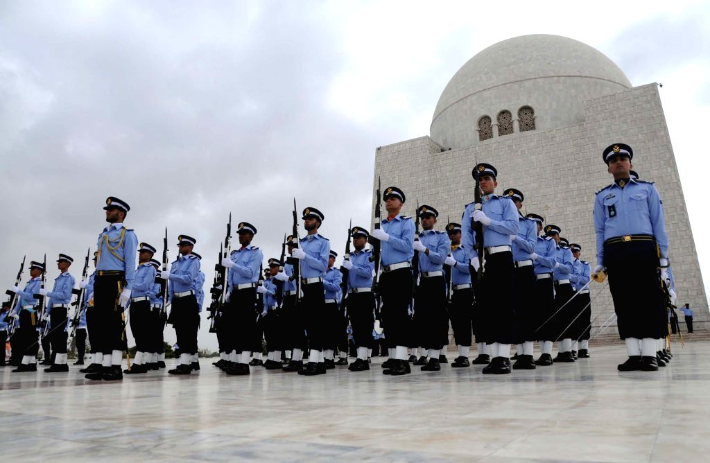 Pakistan Air Force cadets march at the mausoleum of the country's founder Mohammad Ali Jinnah during a ceremony to mark the Defense Day in southern Pakistani port ..