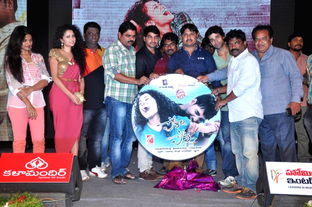 Karan, Soumya Kumar during Telugu Movie `Pora Pove` audio release function at Taj Deccan Hotel in Hyderabad on June 23, 2014. - Soumya Kumar