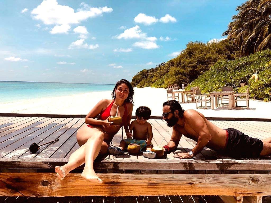Kareena shares throwback beach pic with hubby Saif and son Taimur