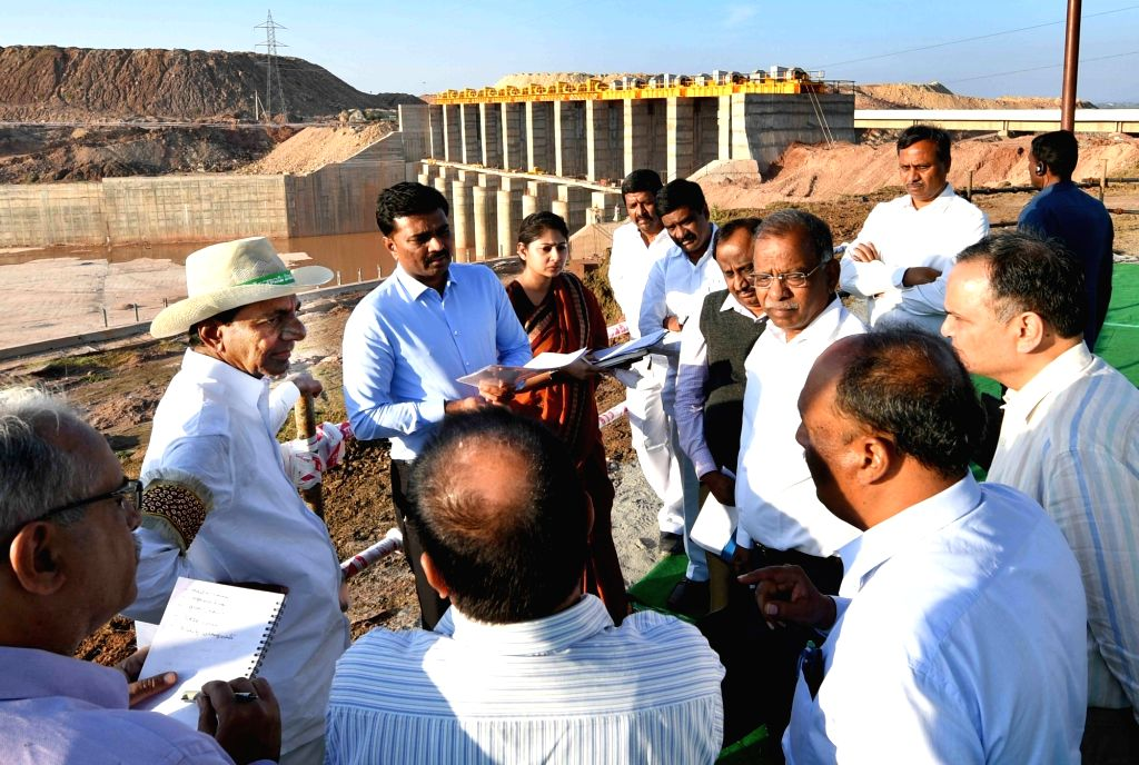 Karimnagar: Telangana Chief Minister K. Chandrasekhar Rao during his visit to the Kaleshwaram Lift Irrigation project site in Telangana's Karimnagar on Jan 2, 2019. (Photo: IANS) - K. Chandrasekhar Rao
