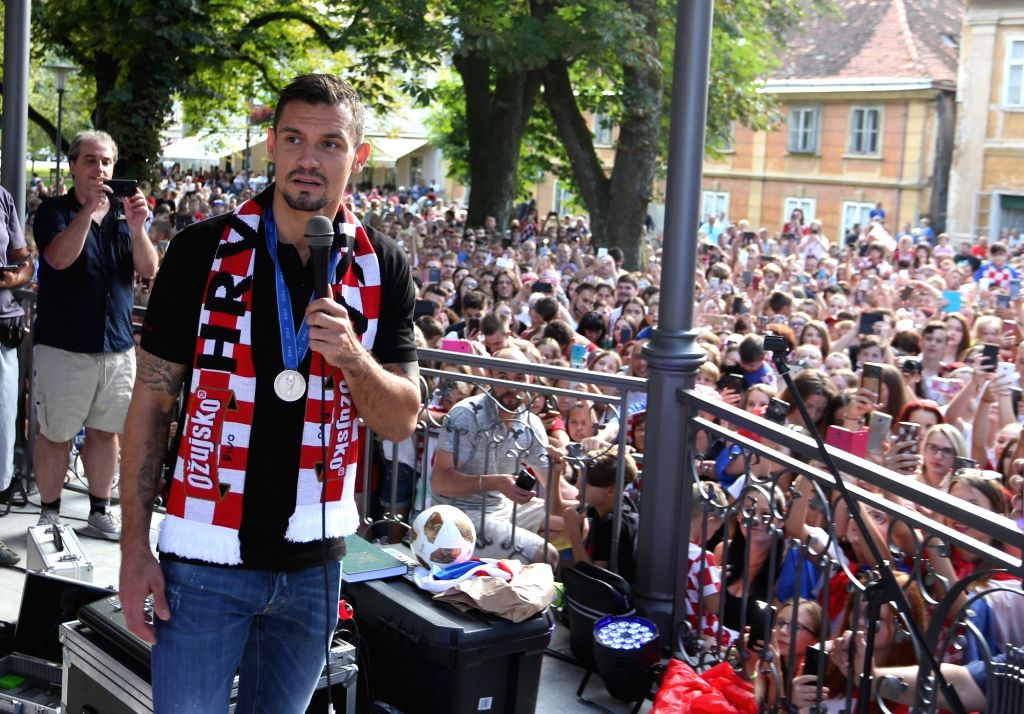 KARLOVAC, July 18, 2018 - Croatian football player Dejan Lovren (Front) takes part in a welcome celebration in Karlovac, Croatia, on July 17, 2018. Croatian national football team won second place at ...