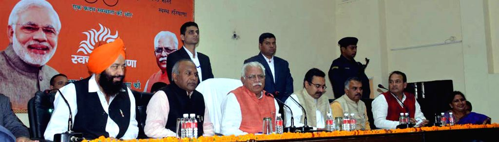 Haryana Chief Minister Manohar Lal Khattar during a BJP programme in Karnal, Haryana on Nov 26, 2014. - Manohar Lal Khattar
