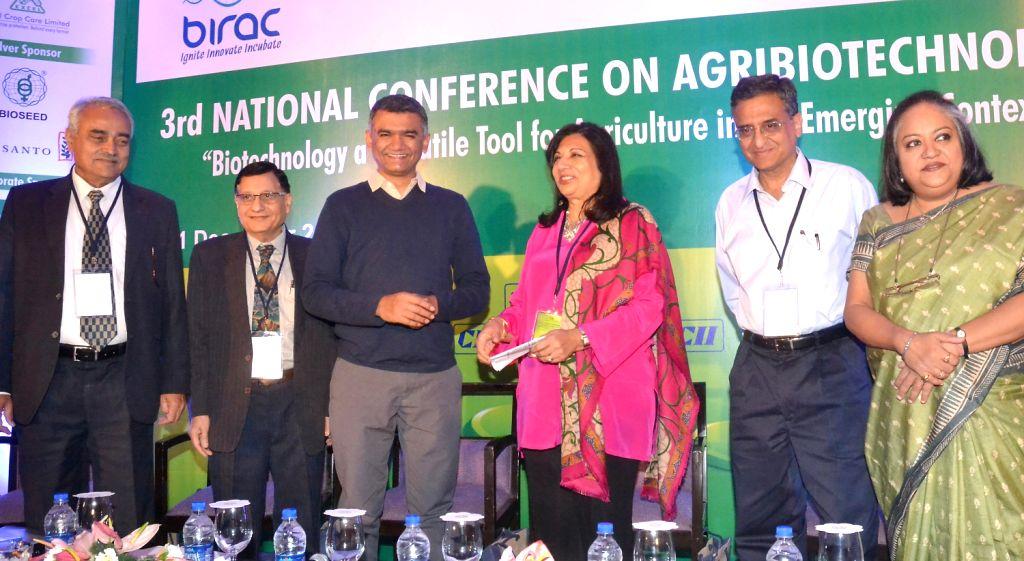 Karnataka Agriculture Minister Krishna Byre Gowda with Dr. Kiran Mazumdar Shaw, Chairman, CII National Committee on Biotechnology and CMD Biocon Ltd, Dr K Narayana Gowda, Vice Chancellor, University . - Krishna Byre Gowda