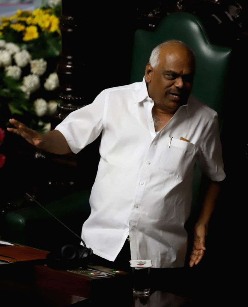 Karnataka Assembly Speaker K.R. Ramesh Kumar during the Budget Session of the state assembly, in Bengaluru on Feb 7, 2019. - K. and R. Ramesh Kumar