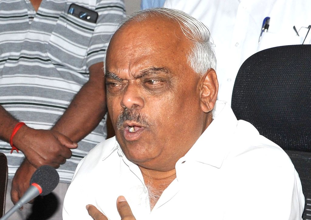 Karnataka Assembly speaker KR Ramesh addresses a press conference in Bengaluru on July 28, 2019. - K