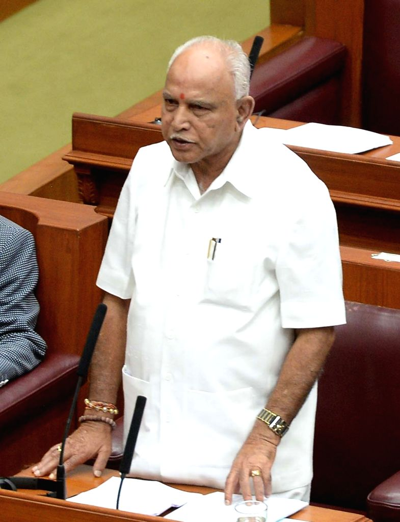 Karnataka BJP chief B.S. Yeddyurappa addresses during the first day of winter session of the state assembly in Belagavi of Karnataka's Belgaum district on Dec 10, 2018.