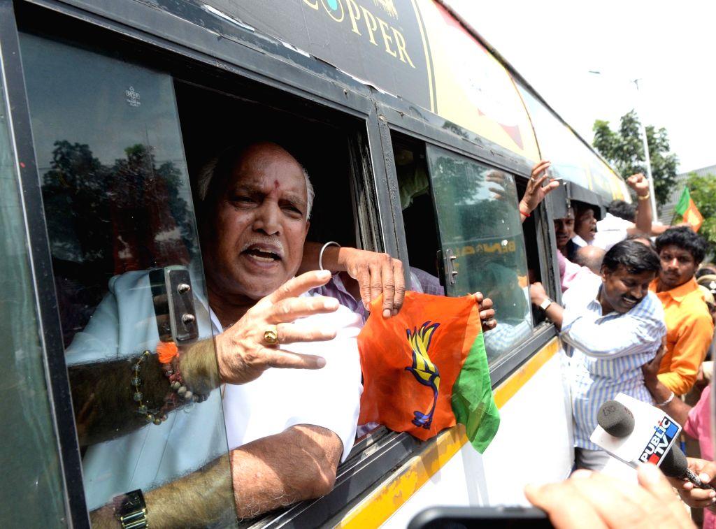 Karnataka BJP president B. S. Yeddyurappa during BJP's demonstration in Bengaluru on Aug 18, 2017.