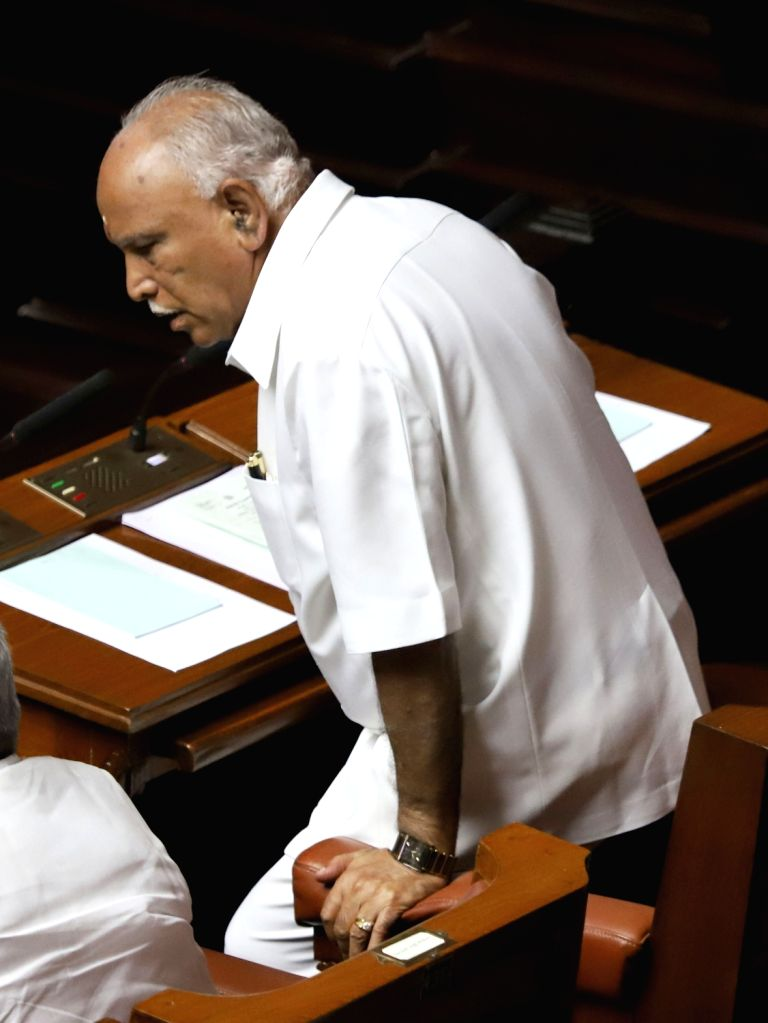 Karnataka BJP President B S Yeddyurappa in the state assembly where Chief Minister HD Kumaraswamy moved motion of confidence in Bengaluru on July 18, 2019. - H