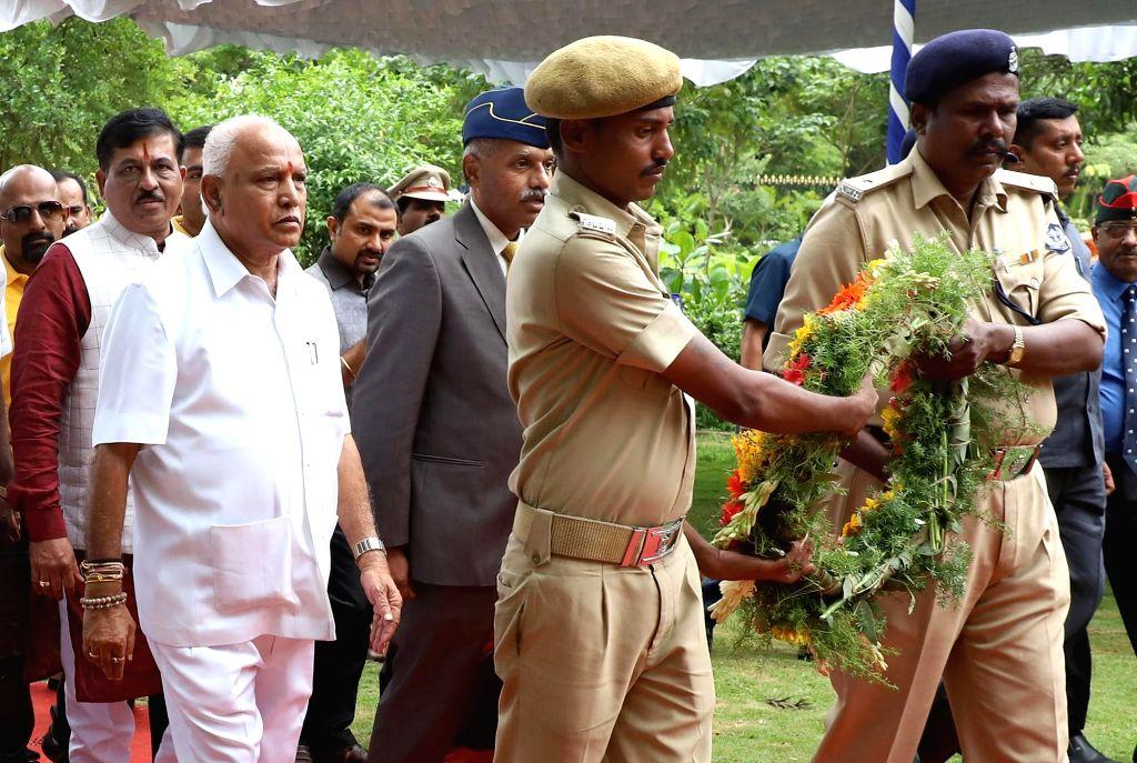 Karnataka BJP President B. S. Yediyurappa arrives to pay tributes to martyrs on the 20th Anniversary of Kargil Vijay Diwas at National Military Memorial, in Bengaluru on July 26, 2019.