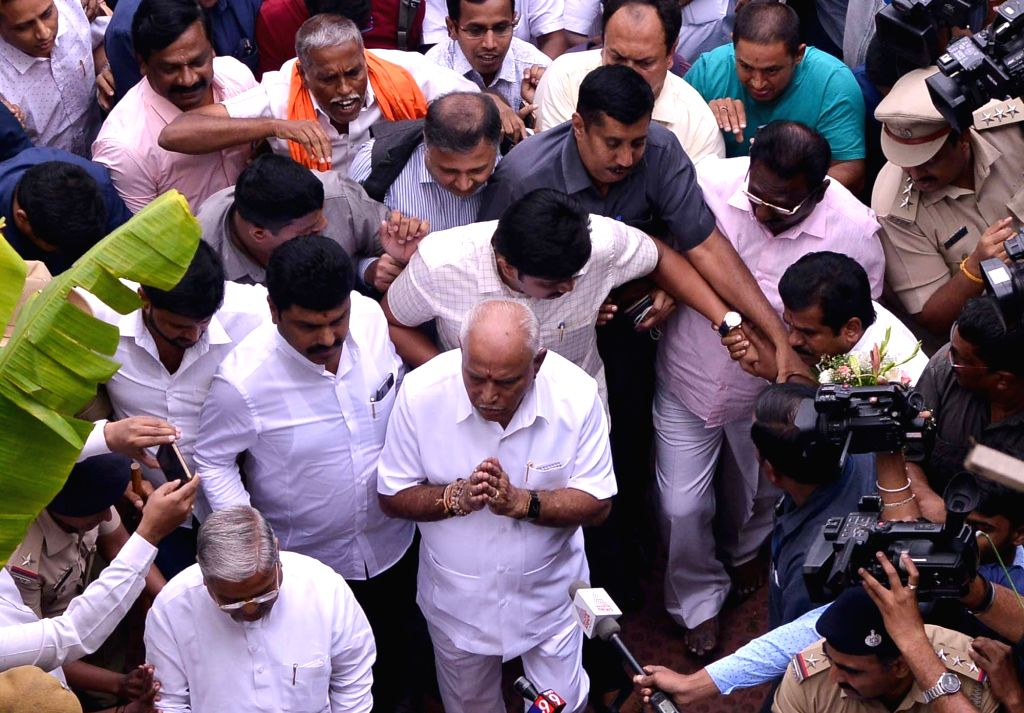 Karnataka BJP President B. S. Yediyurappa arrives at state party headquarters ahead of taking oath as the new Chief Minister, in Bengaluru on July 26, 2019.