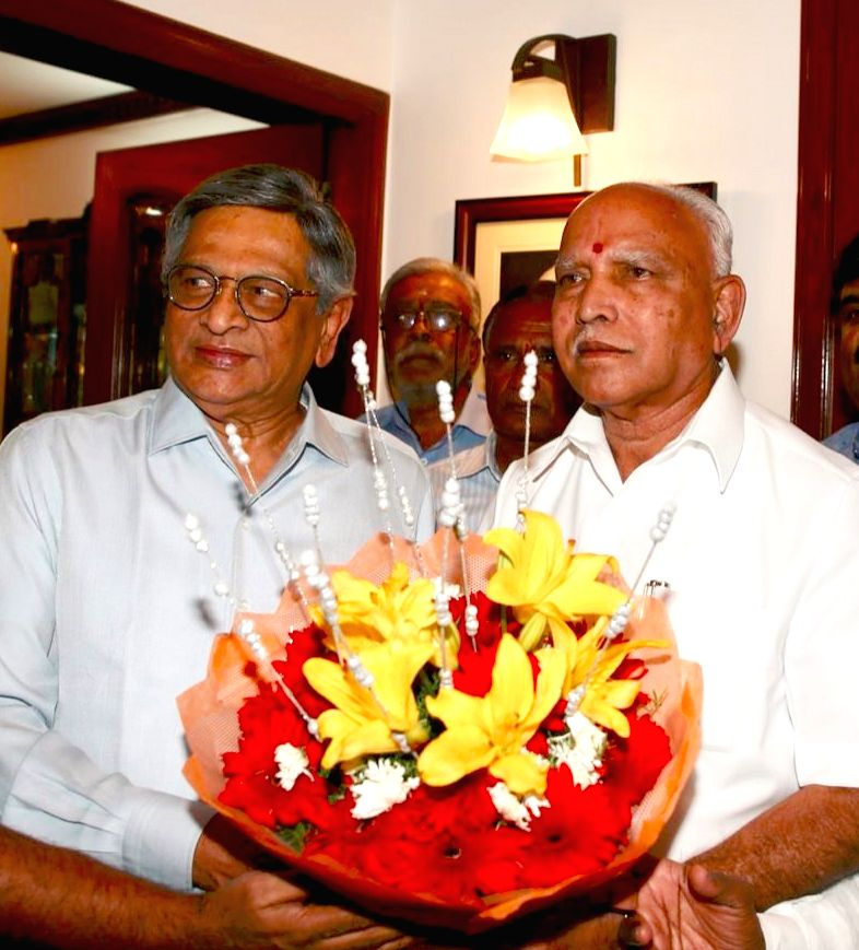 Karnataka BJP President BS Yeddyurappa during a meeting with party leader SM Krishna in Bengaluru, on March 16, 2019.