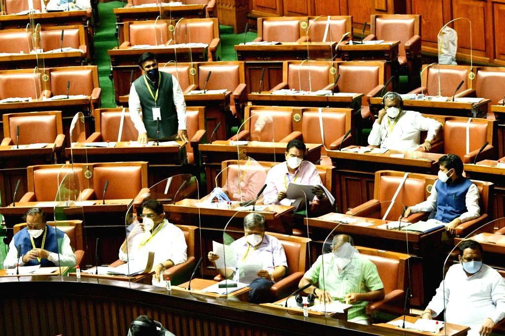 Karnataka Cabinet Minister D Sudhakar addresses the State Assembly during the Monsoon Session, at Vidhana Soudha in Bengaluru on Sep 23, 2020. - D Sudhakar