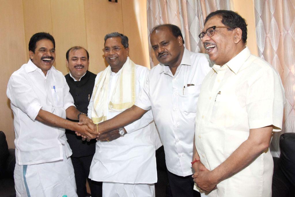 Karnataka Chief Minister and JD(S) leader HD Kumarswamy, Deputy Chief Minister and Congress leader G Parameshwara with Danish Ali  (JD(S), KC Venugopal, Siddaramaiah (Congress) at the ...