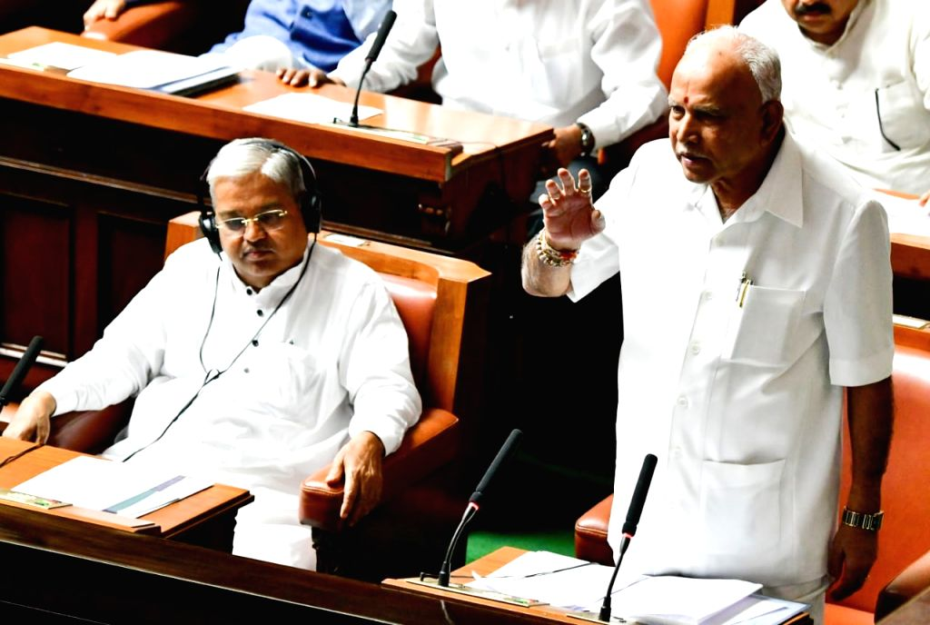 Karnataka Chief Minister B.S. Yeddiyurappa addresses during the Winter Session of the state Assembly, in Bengaluru on Oct 10, 2019. - B.