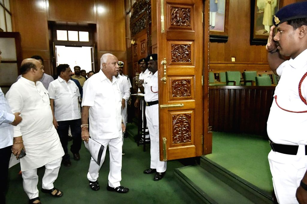 Karnataka Chief Minister B.S. Yeddiyurappa arrives to attend the Winter Session of the state Assembly, in Bengaluru on Oct 10, 2019. - B.