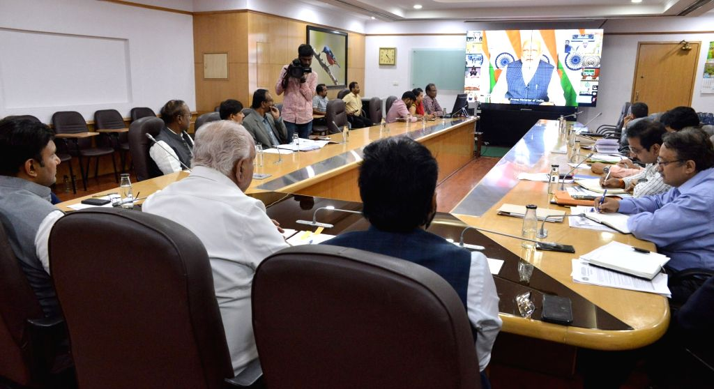 Karnataka Chief Minister BS Yadiyurappa, Health Minister Sri Ramulu, Medical Education Minister Dr. Sudhakar and Health Department officials participated conference with Prime Minister ... - B and Narendra Modi