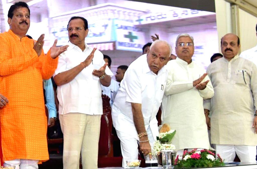 Karnataka Chief Minister BS Yediyurappa inaugurates the Ambedkar Bhavan and various developments works in Yelhanka Assembly constituency, in Bengaluru on Dec 8, 2019. - B