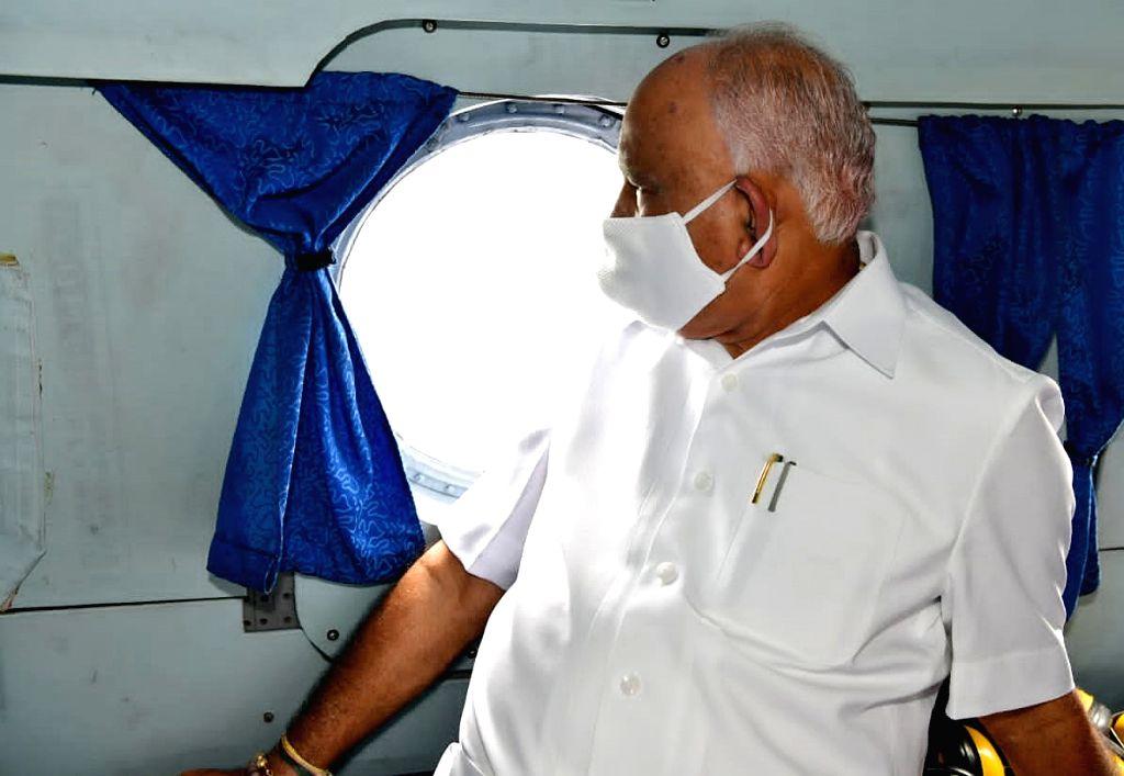 Karnataka Chief Minister BS Yediyurappa conducts aerial survey of flood-affected areas of North Karnataka, on Oct 21, 2020. - B