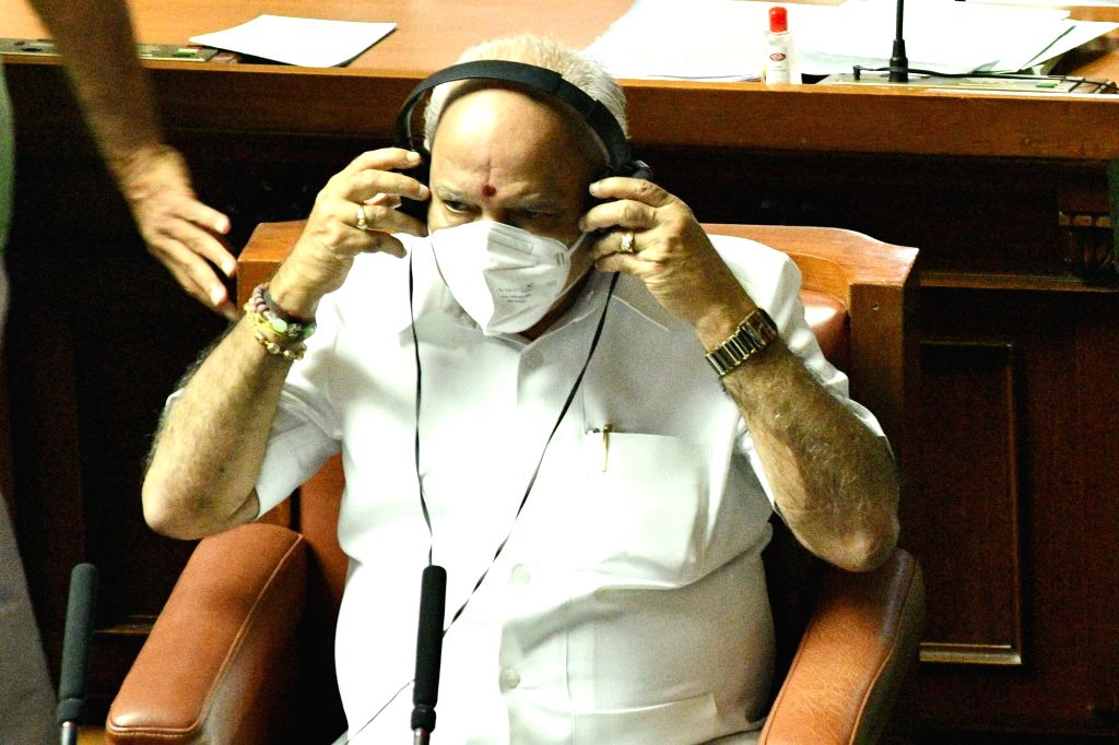 Karnataka Chief Minister BS Yediyurappa during the Monsoon Session of the State Assembly, at Vidhana Soudha in Bengaluru on Sep 23, 2020. - B