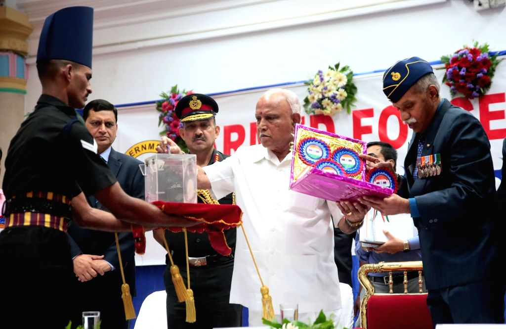 Karnataka Chief Minister BS Yediyurappa during the Armed Forces Flag Day celebrations at Vidhana Soudha, in Bengaluru on Dec 6, 2019. - B