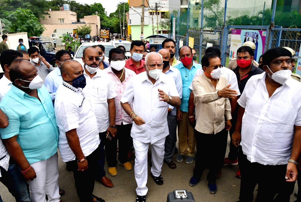Karnataka Chief Minister BS Yediyurappa paid an inspection visit to Hosakerehalli after heavy rains left the area inundated and damaged, in Bengaluru on Oct 24, 2020. - B