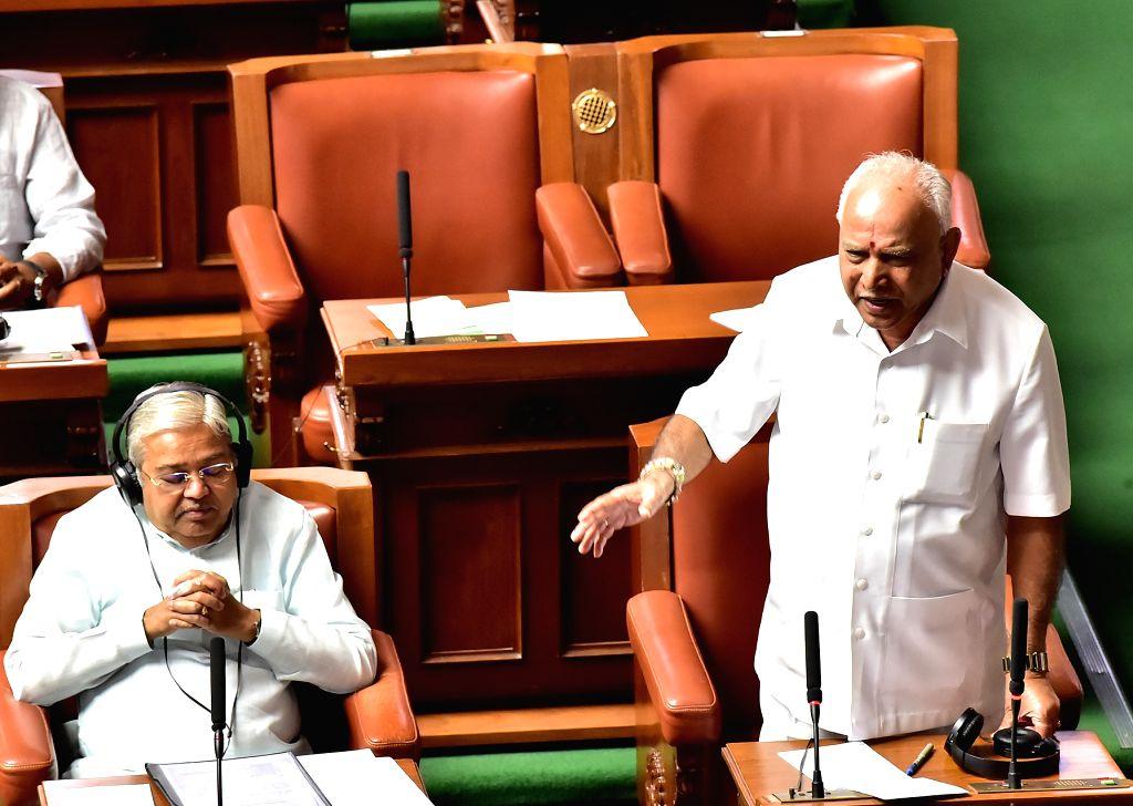 Karnataka Chief Minister BS Yediyurappa speaking at Assembly session at Vidhan Soudha, in Bengaluru on Thursday 19 March 2020. - B