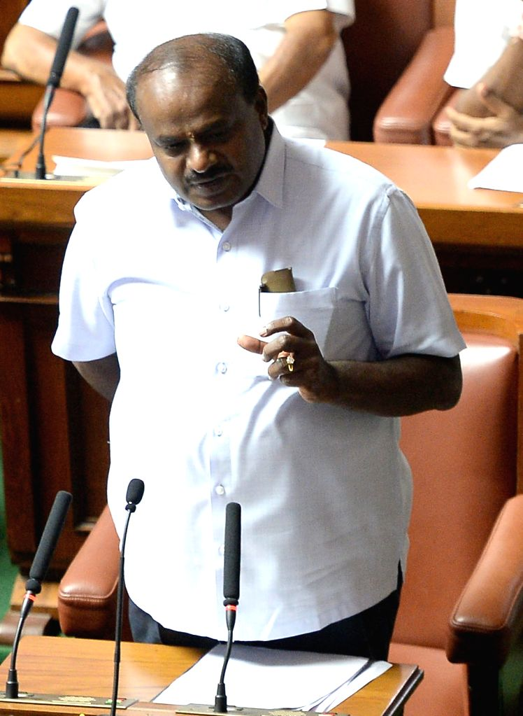 Karnataka Chief Minister H.D. Kumaraswamy addresses at the state assembly in Bengaluru, on May 25, 2018. - H.