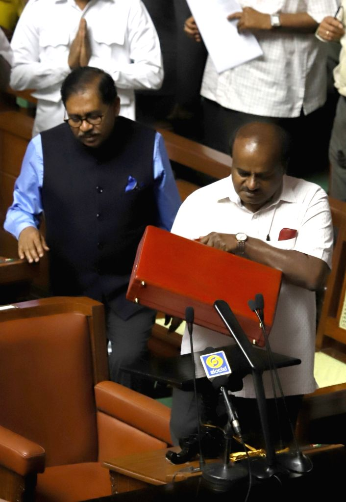 Karnataka Chief Minister H. D. Kumaraswamy arrives to present the state budget 2019-20 in the state assembly, in Bengaluru on Feb 8, 2019. - H. D. Kumaraswamy