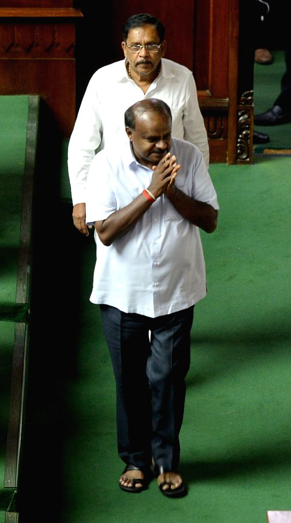 Karnataka Chief Minister H.D. Kumaraswamy at the state assembly in Bengaluru, on May 25, 2018. - H.