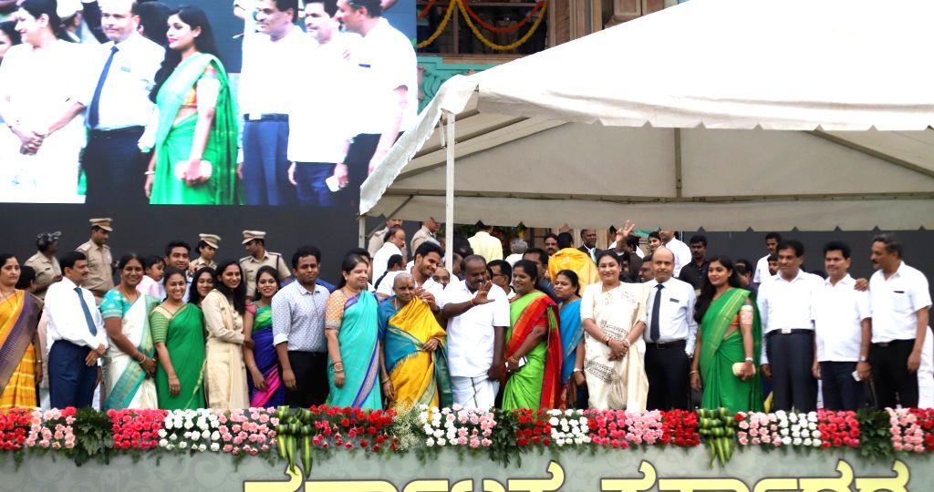 Karnataka Chief Minister H.D.Kumaraswamy during his swearing in ceremony in Bengaluru on May 23, 2018. - H.
