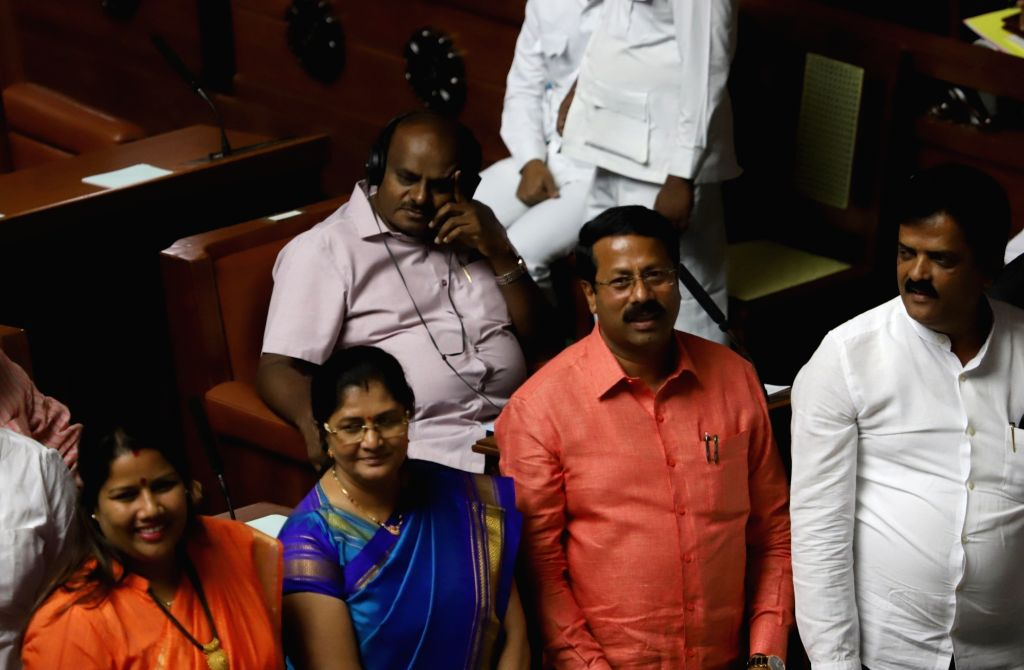 Karnataka Chief Minister H. D. Kumaraswamy during the Budget Session of the state assembly, in Bengaluru on Feb 7, 2019. - H. D. Kumaraswamy