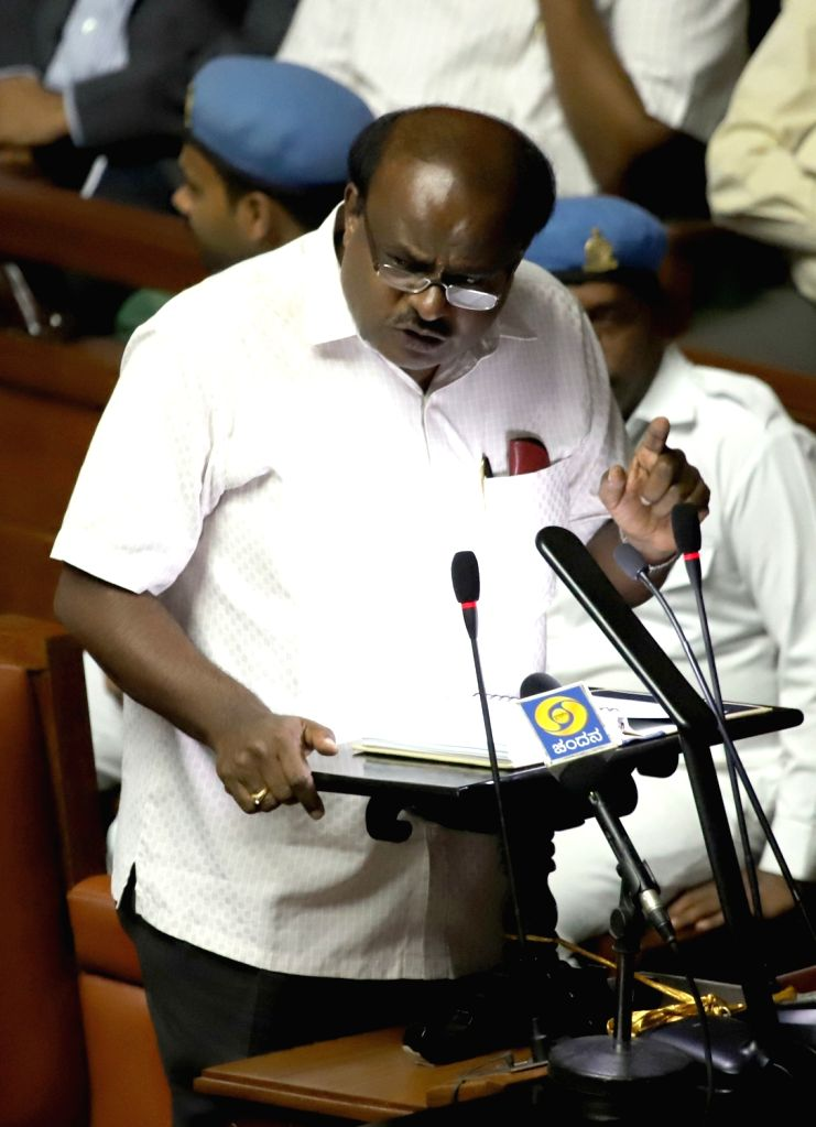 Karnataka Chief Minister H. D. Kumaraswamy who also holds the Finance portfolio, presents the state budget 2019-20 in the state assembly, in Bengaluru on Feb 8, 2019. - H. D. Kumaraswamy